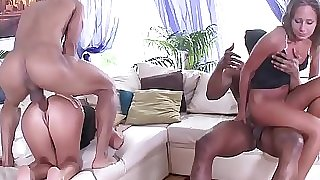 Fit to Fuck Russian Babes - 2on2 Black on Milky Anal Sex with DP